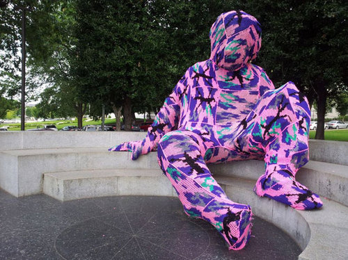 The artist Olek covered DC's Einstein statue in yarn.