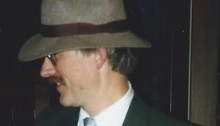 "Blucher in 1930's dress after the 1988 public reading for ""Caverns."""