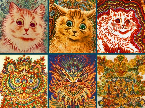 Wain's cat portraits changed as his schizophrenia grew more acute.